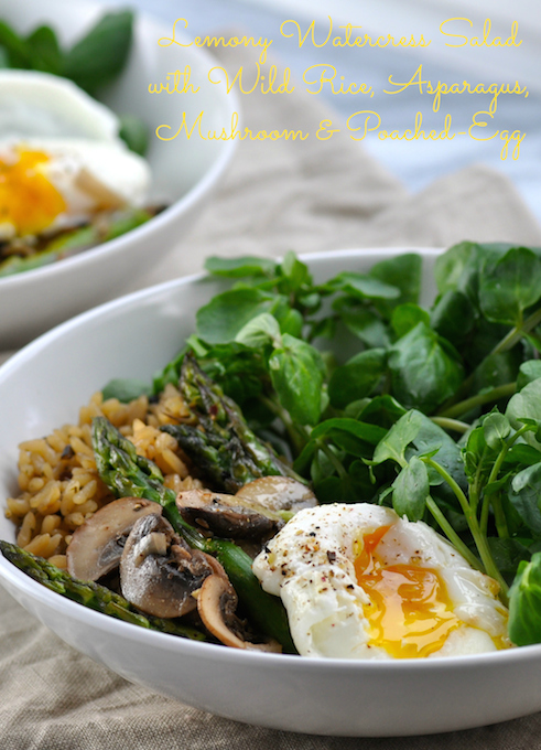 Lemony-Watercress-Salad-with-Wild-Rice-Asparagus-Mushroom-and-Poached-Egg-1