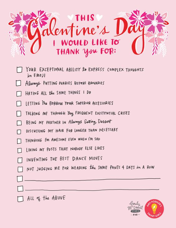 funny and cute bff #galentines letter