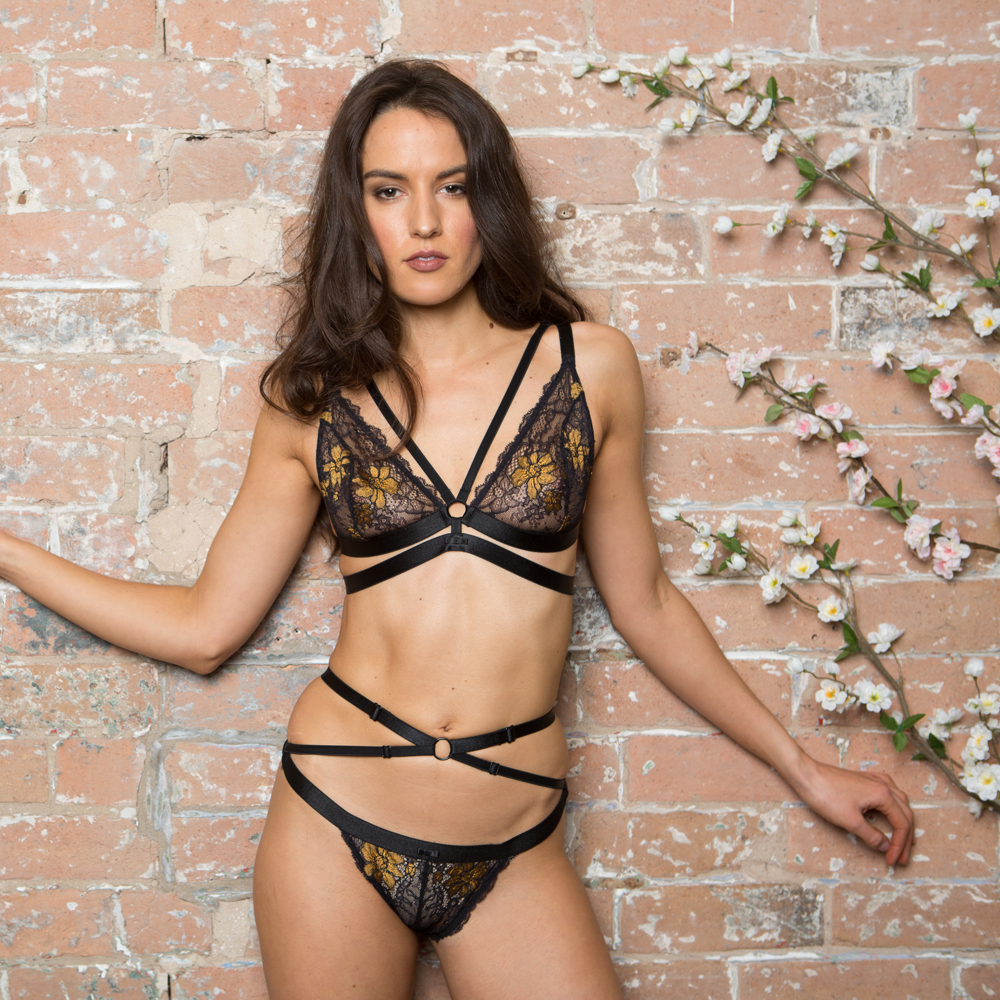 Little Women Storm Bralette and Brief in Storm Black