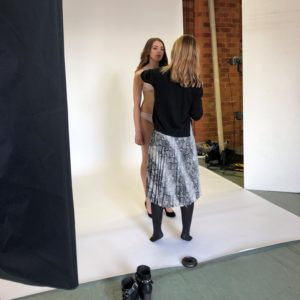 The lovely Gemma having some last minute adjustments by Vanessa on our photo shoot